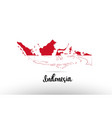 indonesia country flag inside map contour design vector image vector image