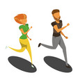 isolated runners girl and the guy isometric vector image vector image