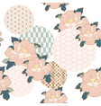 japanese pattern with circle shape peony flower vector image