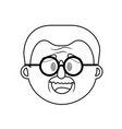 line old man face with hairstyle vector image vector image