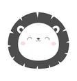 lion round face head sketch line icon kawaii vector image vector image