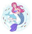 mermaid fairy cartoon tropical animal illus vector image vector image