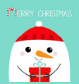 merry christmas snowman head face holding gift vector image vector image