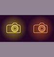 neon icon of yellow and orange photo camera vector image
