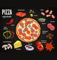 pizzeria menu pizza ingredients meal vector image vector image