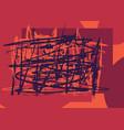 random brushstrokes red background vector image vector image