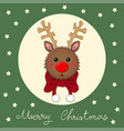 reindeer with red scarf on green christmas vector image vector image