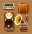 Retro items on brown background vector image