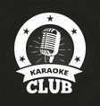 retro karaoke club label vector image vector image