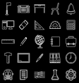 School line icons on black background vector image vector image