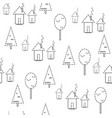 seamless pattern houses on a white background vector image vector image