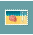 Seashell flat stamp summertime vector image vector image