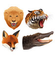 set of animals heads vector image vector image