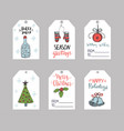 set six christmas gift tags templates vector image vector image