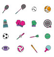 set sport elements to play patches decoration vector image