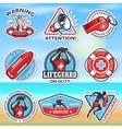 set vintage lifeguard emblems vector image vector image