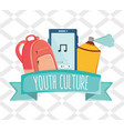 set youth accessories with ribbon frame vector image