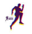 silhouette of a running man design for sport vector image vector image