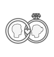 silhouette profile face engagement and diamond vector image vector image
