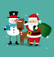 snowman with deer and santa claus with bag vector image vector image
