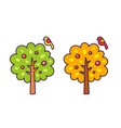 summer and autumn cartoon tree with a small bird vector image