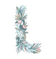 summer pattern hand drawn letter l palm leaves vector image vector image
