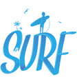 surf lettering with palms and surfer 3d style vector image vector image