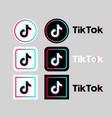 tik tok social network icon set on gray vector image vector image