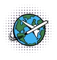 Traveling by a plane comics icon vector image vector image