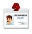 urologist identification badge man name vector image vector image
