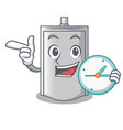 with clock bag packaging snack on a mascot vector image