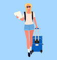 woman with map or travel document and luggage vector image vector image