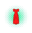 Womens red dress icon comics style vector image vector image