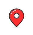 red glossy map pin with shadow vector image