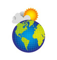 earth planet with cloud and sun vector image