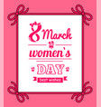 8 march womens day with bows vector image vector image