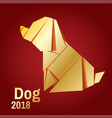 a golden origami dog vector image