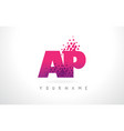 ap a p letter logo with pink purple color and vector image vector image