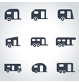 black trailer icon set vector image vector image