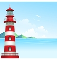 blue sea background with waves and lighthouse vector image