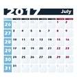 Calendar 2017 July design template Week vector image