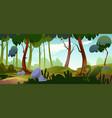 cartoon forest background nature park landscape vector image