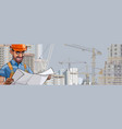 cartoon male builder engineer looks vector image