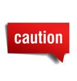 caution red 3d speech bubble vector image vector image