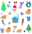 Christmas set object of doodles vector image vector image