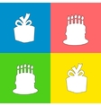 Colored happy birthday squares background with vector image