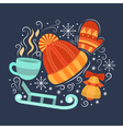 Concept with symbols of winter vector image vector image