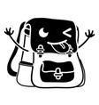 contour funny bag object kawaii with arms vector image