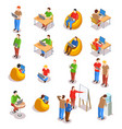 coworking people icon set vector image