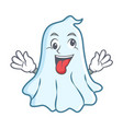 crazy cute ghost character cartoon vector image vector image